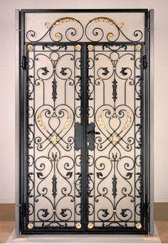 House Fence Design, Grill Gate Design, Front Door Design Wood, Metal Stair Railing, Tor Design, Custom Gates, Wrought Iron Doors, Iron Decor, Steel Doors