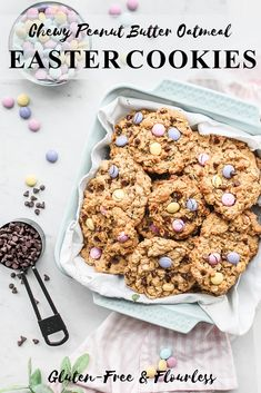 These amazing gluten-free flourless cookies are a perfect Easter-themed treat packed with pastel M&Ms and delicious Cadbury Mini Eggs. Bake and Enjoy today! Mini Egg Recipes, Easter Recipes, Baking Recipes, Sweet Recipes, Cookie Recipes, Easter Baking Ideas, Easter Snacks, No Egg Desserts, Desserts Ostern