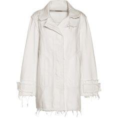 Balenciaga Denim Coat (26.966.515 IDR) ❤ liked on Polyvore featuring outerwear, coats, jackets, coats & jackets, white, denim coats, white coat, balenciaga and balenciaga coat
