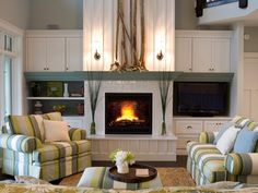 Feel at home in a Cape Cod-style interior by using beach-inspired colors like sage green, yellow, tan and white.