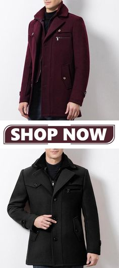 865883f3000 Business Casual Double Collar Thicken Warm Wool Overcoat