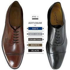 Shoe to Suit guide - Black shoes can go with navy, mid-gray, charcoal, and black suits. Brown shoes can go with navy, mid-gray, and brown suits.