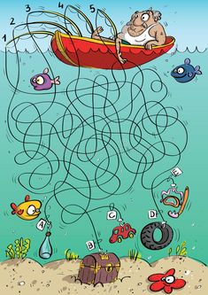 Illustration about Fisherman Maze Game for children. Hand drawn illustration in mode. Illustration of drawing, bottle, cartoon - 29694183 Preschool Learning Activities, Book Activities, Kids Learning, Free Printable Puzzles, Printable Games For Kids, Mazes For Kids, Art For Kids, Maze Puzzles, Maze Game