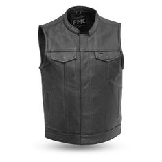 Get this classic First Manufacturing Blaster Leather Vest! Features two-buttoned chest pockets, two-buttoned slash pockets, interior cellphone pocket. Motorcycle Leather Vest, Biker Leather, Cowhide Leather, Leather Jacket, Raw Denim, Black Denim, Sons Of Anarchy Vest, Denim Vest Men, Jacket Men