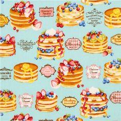 Blauer Stoff Pfannenkuchen Frucht Word von Cosmo aus Japan - Essen Stoffe - Stoffe - kawaii shop modeS4u