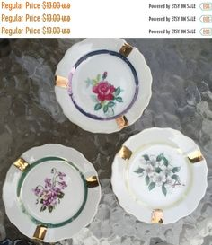 SALE Ash Trays 3 Vintage Personal Hand Painted in a Floral Motif