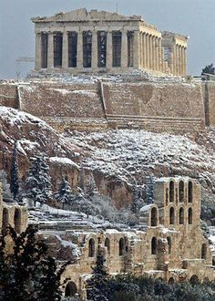 Athens, Acropolis by snow