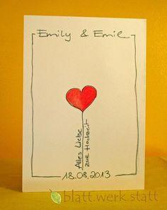 Hochzeit - Glückwunschkarte Hochzeit individuell handgemalt - ein Designerstück von blattwerkstatt bei DaWanda