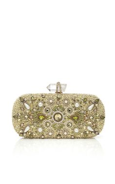Marchesa Lily Embroidered Clutch in Lime Pearl