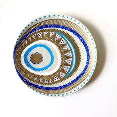 Boho Decor - Tribal Decor - Mandala Decor - Blue Spiral Decor - Wall Hanging - Decorative Plate - Original Boho Decor - Boho Art Decor - Art by biancafreitas on Etsy