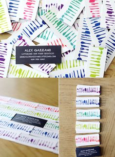 Colorful Business Cards  These bright and bold cards were designed for an up-and-coming catering chef in the Chicagoland area. The goal was to keep the cards light, fresh, and colorful.