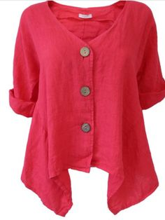 Ladies buttoned linen top/jacket in coral - one size