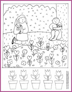 Spring Coloring Page And Rhyming Activity