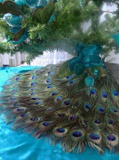 Items similar to Peacock Feather Christmas Tree Skirt and Wall Hanging or Wedding Cake Table Mat - Sizes on Etsy Peacock Christmas Decorations, Peacock Christmas Tree, Christmas Tree Themes, Blue Christmas, Christmas Colors, Xmas Tree, Christmas Holidays, Christmas Crafts, Crochet Christmas