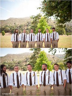 Groomsmen wearing suspenders.  Love it!