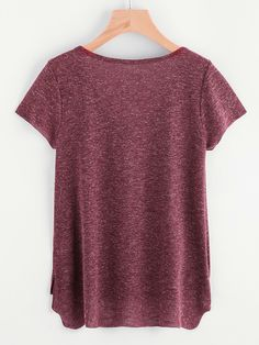Marled Knit Button Front Staggered Hem T-shirt -SheIn(Sheinside)