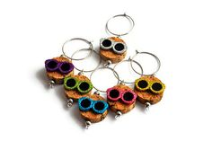 Items similar to Wine Charms on Wine Bottle Cork - Glitter Sunglasses (Set of 6) on Etsy