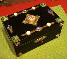 ORNATE Jeweled Antique Victorian Jewelry Box w key Czech Russian? from decadentdiva on Ruby Lane