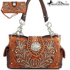 Click Here and Buy it on Amazon.com Price:	$59.99  Montana West Western Unique Floral Embroidered Rhinestone Gemstone Round Rivet Studded Turn Over Top Detailed Side Pocket Tote Satchel Shoulder Handbag Purse with Wallet