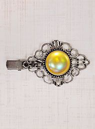New Arrivals - Bygone Eras Hair Clip in Iridescent Yellow by Plasticland Accessories