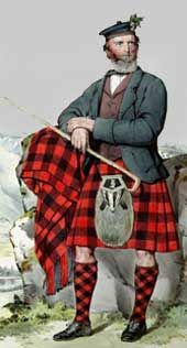 Duncan MacGregor, painted in 1868. Shown wearing a kilt and hose of Rob Roy tartan, with the MacGregor crest and badge. He has a badger sporran and an unusual design of bonnet with a single row of red dice on the brim.