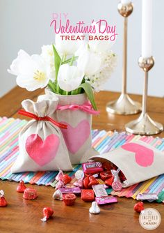 DIY Valentine's Day Treat Bags - easy project to create treat bags, flower vase and wine bottle covers! via Inspired by Charm