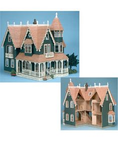 The Garfield Dollhouse features seven peaks, a wrap-around porch, two balconies and two bay windowsToy boasts ten large rooms accessed easily with a corner opening, removable roof section and a lift-off turret