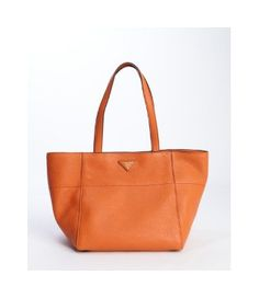Prada #papaya #orange #leather wide top handle #tote - on #sale 28% off @ #Bluefly  #Prada #myownoutlet #coolonsale.com #stylish