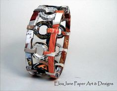 """Paper Bracelet 1""""  - 3 sizes  and 10 different paper material to  order. $22.00, via Etsy."""