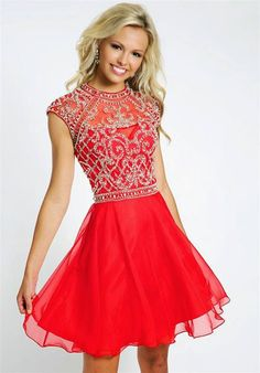 This 2014 Tony Bowls lace high neck homecoming dress would be perfect for this years 2014 homecoming dance.