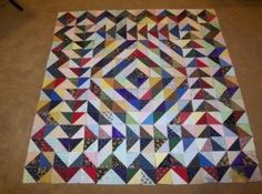 Half Square Triangle Quilt Kit Wall Hanging by on Etsy - good for scraps Lap Quilts, Strip Quilts, Scrappy Quilts, Small Quilts, Batik Quilts, Colorful Quilts, Mini Quilts, Half Square Triangle Quilts Pattern, Half Square Triangles