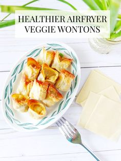 A recipe for airfryer vegetable wontons that require less oil than normal deep fried wontons making them a healthier option to take out dinner. // www.elletalk.com #airfry #airfryer #airfryerrecipes