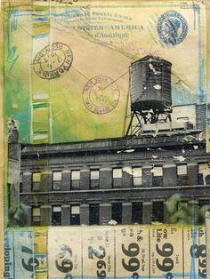"""Hurricane Sandy Relief - """"1947"""" - matted 6"""" x 8"""" original New York City mixed media painting on paper by Mae Chevrette. LOVE her work!"""