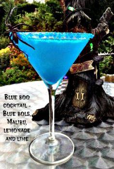 RECIPE: Blue Boo Halloween Cocktail.  Halloween Bat & Boo Ball