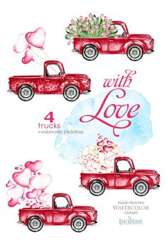 New ideas vintage red truck valentines Vintage Valentines, Valentine Crafts, Valentine Doodle, Vintage Clipart, Valentines Watercolor, Vintage Red Truck, Pink Tulips, Valentines Day Decorations, Graphic