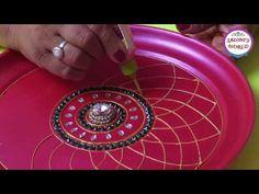 DIY How To Make Decorative Pooja /Aarti Thali Plate At Home ( in Hindi ) by Jyoti Sachdeva. Arti Thali Decoration, Kalash Decoration, Diwali Diy, Diwali Craft, Diwali Decorations At Home, Festival Decorations, Wall Decorations, Wedding Decorations, Diy Home Crafts