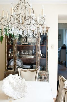 I like the way the armoire contrasts with the chandelier
