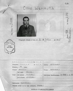 Otto Wermuth's Argentina police mugshot, captain of U-530, Nazi submarine that surrendered in Argentina, 12 July 1945