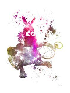 Alice in Wonderland White Rabbit ART PRINT by SubjectArt on Etsy