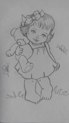 30 ideas embroidery ideas for kids sweets baby drawing, drawing for kids, Pencil Art Drawings, Cute Drawings, Drawing Sketches, Girl Drawings, Drawing Drawing, Baby Drawing, Drawing For Kids, Hand Embroidery Patterns, Embroidery Designs