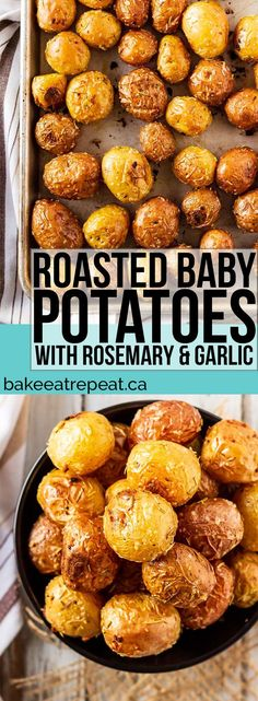 These salt crusted, roasted baby potatoes with rosemary and garlic make the perf. - These salt crusted, roasted baby potatoes with rosemary and garlic make the perfect side dish, and - Baby Potato Recipes, Roasted Potato Recipes, Garlic Recipes, Oven Recipes, Side Dish Recipes, Cooking Recipes, Easy Recipes, Chicken Recipes, Vegetarian