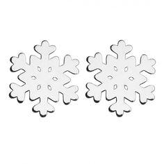 kolczyki - inne-Srebrne kolczyki śnieżynki