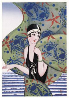 taishou-kun: Fukiya Koji 蕗谷虹児 (1898-1979) Shiokaze 潮風 (Sea breeze), Paris Era - Ryou onna-kai 令女界 magazine cover - August 1928 Art Deco Posters, Art Deco Period, Art Deco Illustration, Illustration Art, Art, Vintage Posters, Graphic Art, Vintage Illustration, Art Deco Fashion