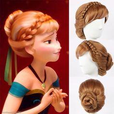 Anna wig by NekoAngelAnime on Etsy Frozen Hairstyles, Romantic Hairstyles, Flower Girl Hairstyles, Wig Hairstyles, Disney Princess Makeup, Disney Princess Hairstyles, Musical Hair, Anna Hair Frozen, Princess Braid