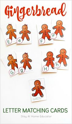 You can't have too many free gingerbread man theme printables. This one is a free printable too! Play lots sof alphabet games with your preschoolers all under a cute gingerbread man theme. Add these alphabet cards to your Christmas theme literacy center Writing Activities For Preschoolers, Preschool Writing, Preschool Printables, Alphabet Activities, Preschool Alphabet, Kids Alphabet, Time Activities, Preschool Classroom, Literacy Activities