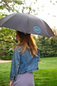 The Fashionably Broke #rocking a Jonas #umbrella during a #sunny #rain! Go see their #blog to #signup for a #giveaway! #ResponsiblyDry