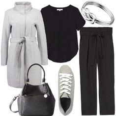 Semplicità è la parola d'ordine di questo outfit. Il cappottino grigio con collo alto, cintura in vita e bottoni nascosti, abbinato a dei pantaloni neri comodi con cintura allacciata a fiocco. T-shirt nera basic a maniche corte, se lo si desidera si può aggiungere un piccolo cardigan da lasciare aperto o senza bottoni. Sneakers grige comodissime con lacci bianchi e una borsa a secchiello nera. Il bijoux adatto è un'anello in argento con nodo ...