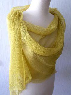 Echarpe lin tricot dentelle Châle naturel été Wrap en Charteuse jaune vertes femmes