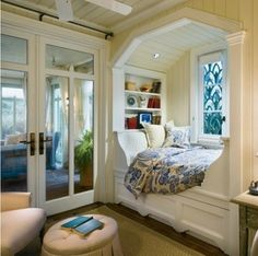 Looking forward and thinking about being grandparents and building a house I'd like to have a couple kids' rooms using this type of bed nook. Kids love to look out the window and like the security of a more closed in sleeping space.