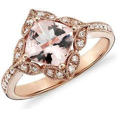Pompeii 2.83 Ct Cushion Morganite Vintage Antique Engagement Diamond... ❤ liked on Polyvore featuring jewelry, rings, accessories, diamond rings, vintage rings, rose gold ring, antique vintage rings e vintage antique jewelry